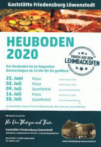 Flyer Heuboden Gaststätte Friedensburg Löwenstedt